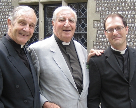 Rev. David Grigor (former College Chaplain), Rev Canon C J (Bill) Peters (Chaplain, 1950-69) and present Chaplain, Father Robert Easton (School Chaplain) at the 2006 Old Brightonian Day