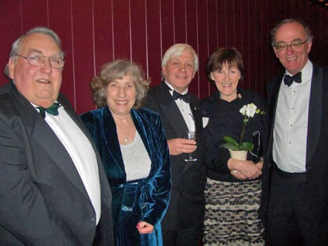 The Worshipful Master, W. Bro Peter Best and his wife Marian (left) with guests Rita McCormack and Simon Smith from the College, Peter Cockburn Secretary in the middle...