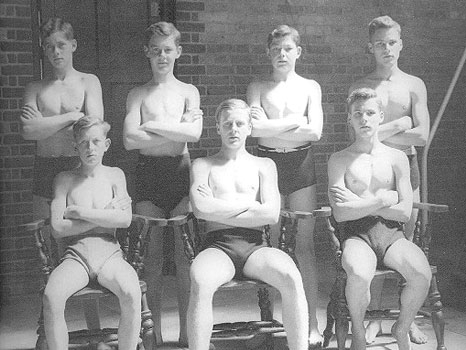 Brighton College Swimming Team 1946 submitted by Graeme Roberts (S. 1944-47) - featuring Albrecht, Davis, Donoghue, and the Holding twins